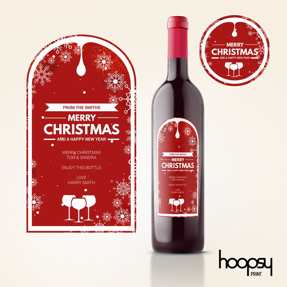 Christmas Wine Bottle Label and Sticker - Hoopsy