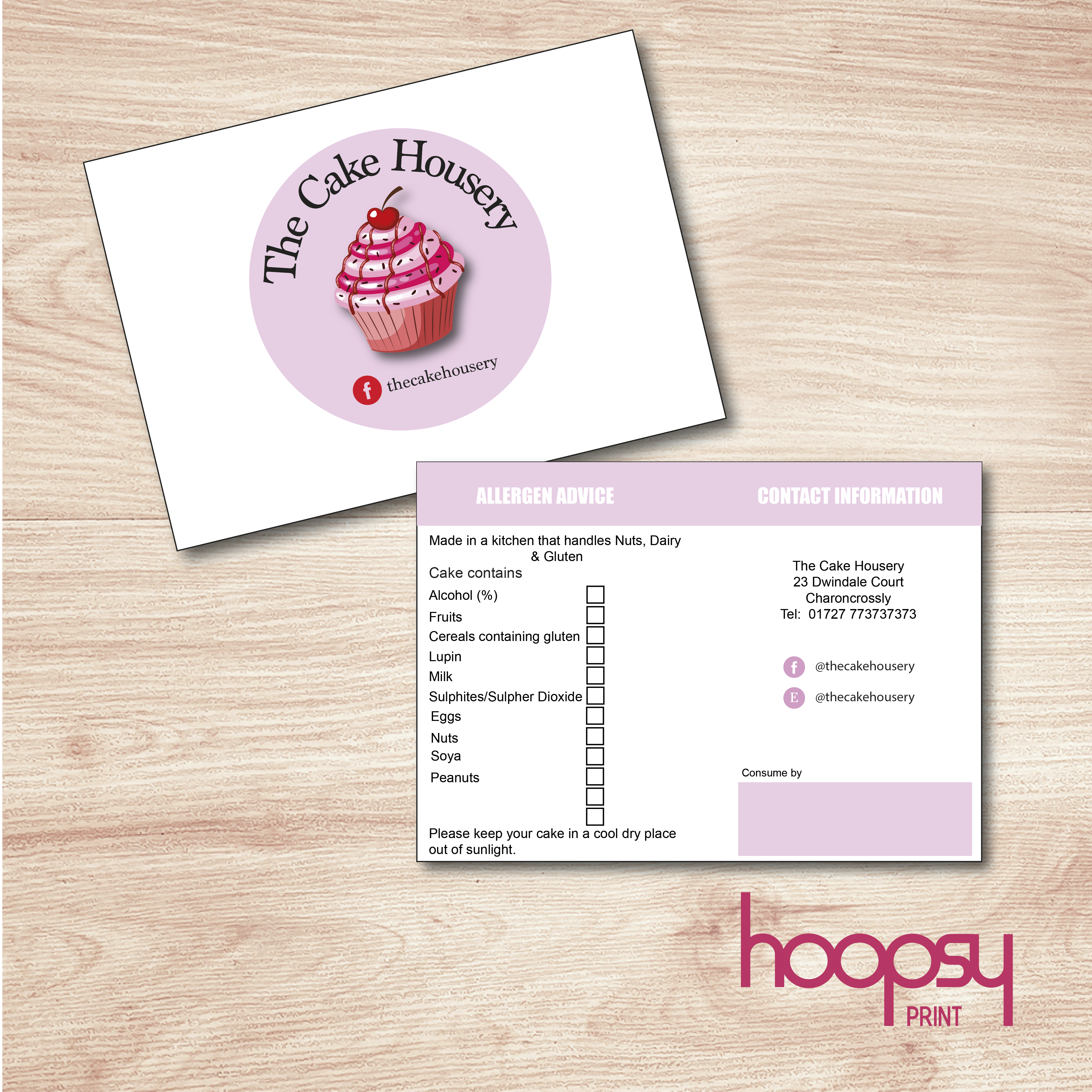 Cake Maker s Presentation Allergen Card Hoopsy